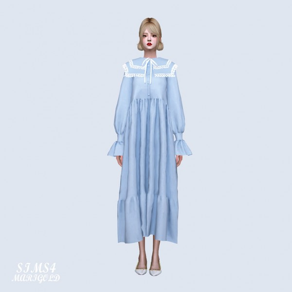 SIMS4 Marigold: Big Square Collar Long Dress