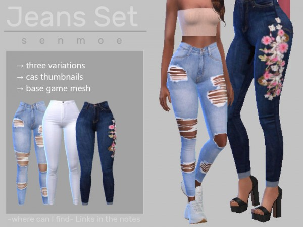 The Sims Resource: Skinny Jeans Set by Senmoe