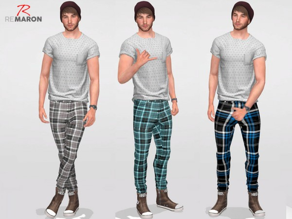 The Sims Resource: Grid pants for men by remaron