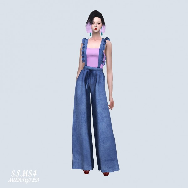 SIMS4 Marigold: Suspender Long Wide Pants With Sleeveles