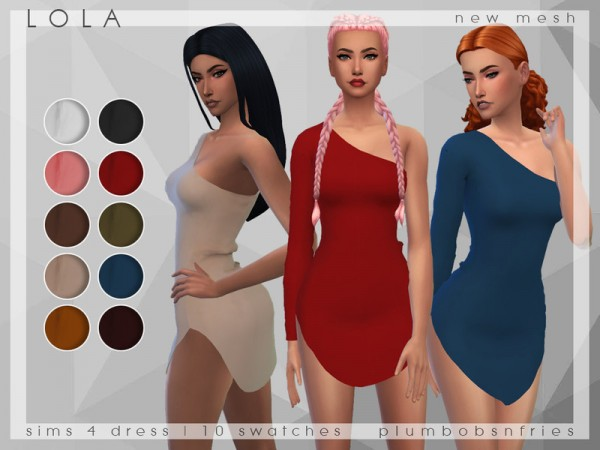The Sims Resource: Lola Dress by Plumbobs n Fries