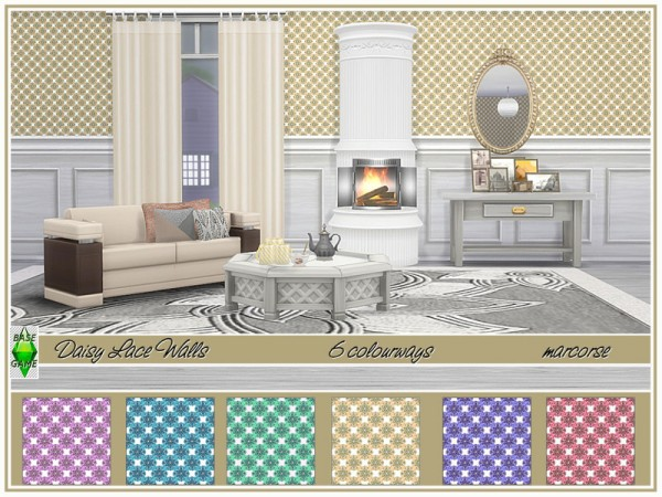 The Sims Resource: Daisy Lace Walls by marcorse
