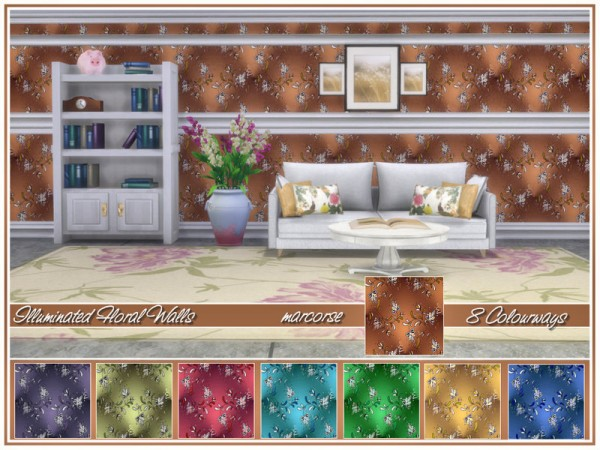 The Sims Resource: Illuminated Florals Walls by marcorse