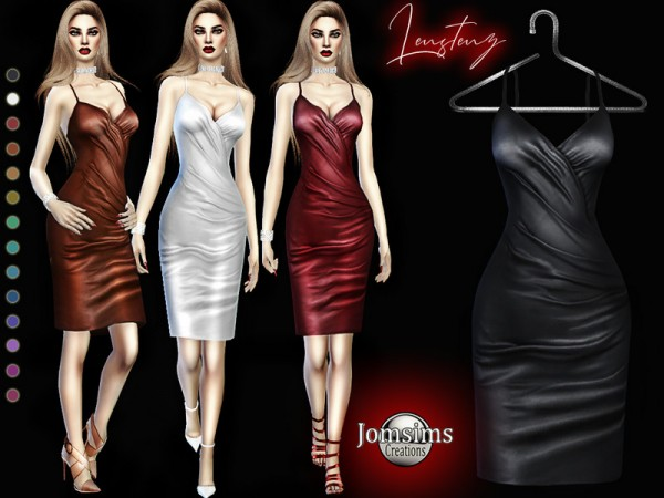 The Sims Resource: Lenstenz leather dress by jomsims