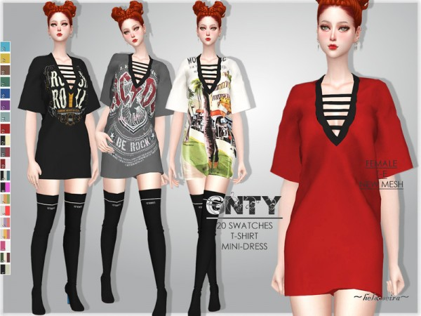 The Sims Resource: GNTY   T Shirt Dress by Helsoseira