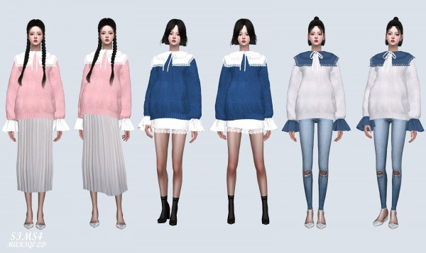 SIMS4 Marigold: Big Square Collar Sweater