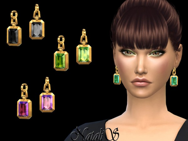 The Sims Resource: Octagon crystals earrings by NataliS