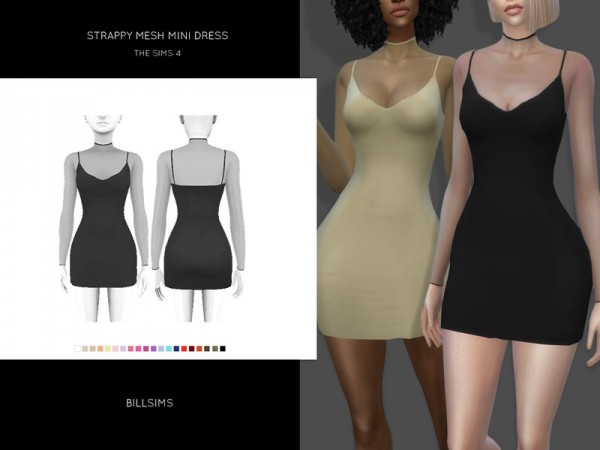 The Sims Resource: Strappy Mesh Mini Dress by Bill Sims