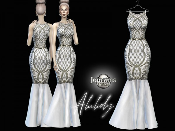 The Sims Resource: Alulidy high fashion evening dress by jomsims