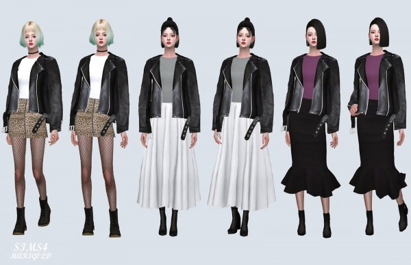 SIMS4 Marigold: Loose fit Leather Jacket With T
