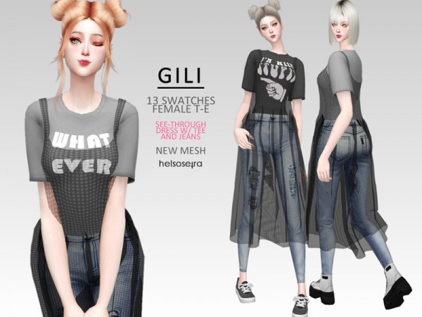 The Sims Resource: GILI   Dress, Tee and Jeans by Helsoseira