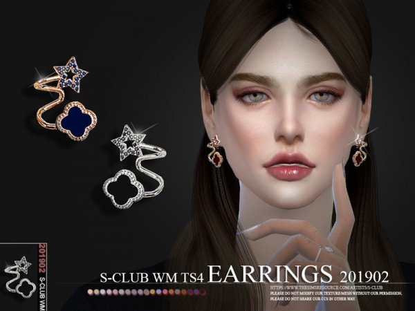 The Sims Resource: Earrings 201902 by S Club
