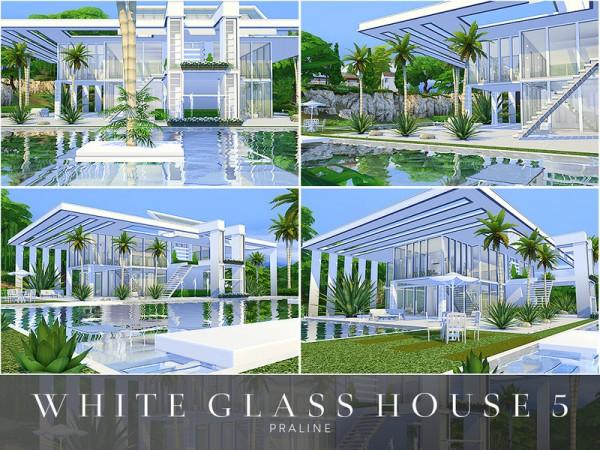 The Sims Resource: White Glass House 5 by Pralinesims