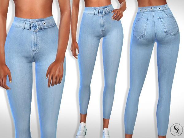 The Sims Resource: High Waist Denim Belt Jeans by Saliwa