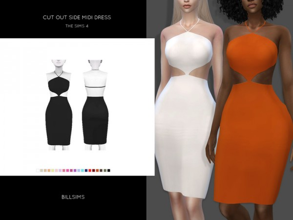 1906efd454e The Sims Resource  Cut Out Side Midi Dress by Bill Sims