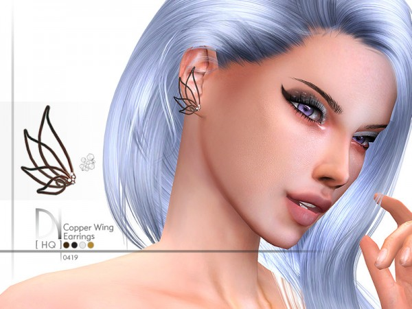 The Sims Resource: Copper Wing Earrings by DarkNighTt