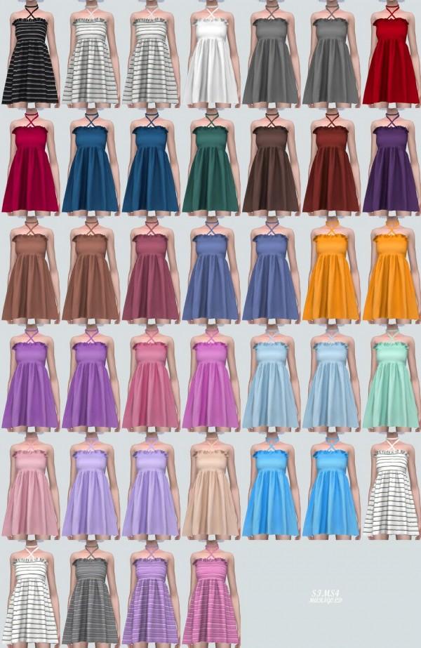SIMS4 Marigold: X Strap Frill Mini Dress V