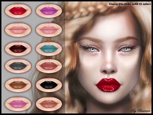 The Sims Resource: Glossy Lipsticks by busenur41