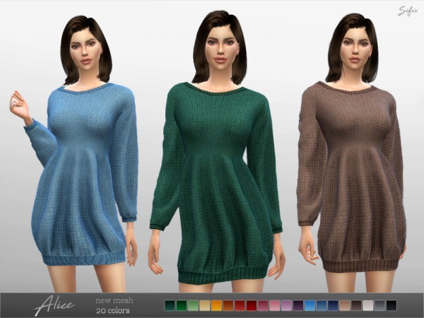 The Sims Resource: Alice Sweater Dress by Sifix