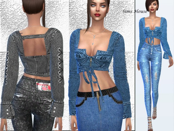 The Sims Resource: Long sleeved denim top by Sims House