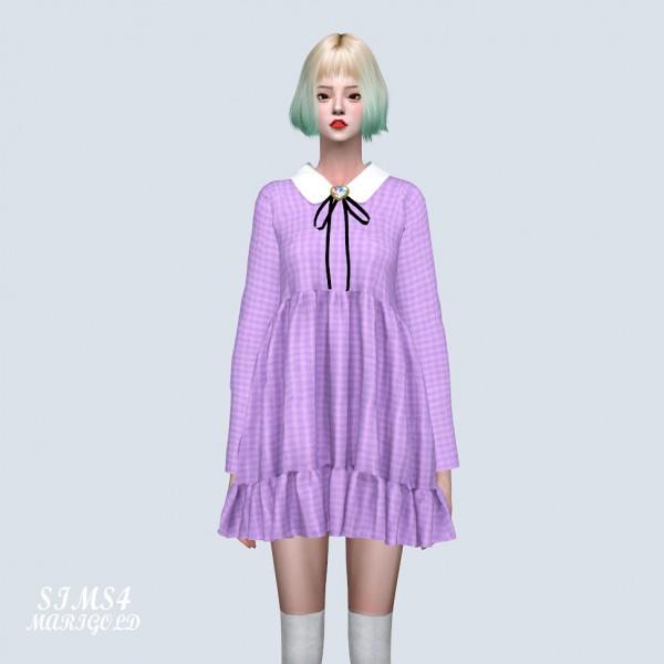 SIMS4 Marigold: Brooch Bow Frill Shirt Mini Dress