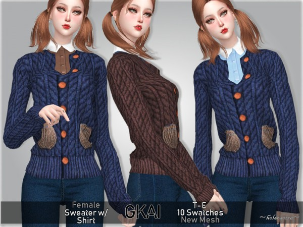 The Sims Resource: GKAI   Sweater with Shirt by Helsoseira