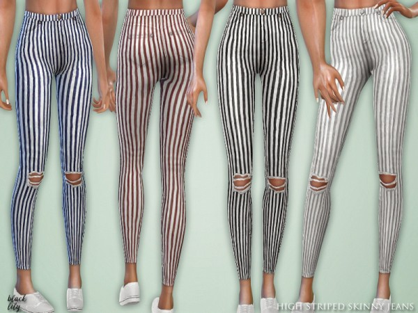 The Sims Resource High Striped Skinny Jeans By Black Lily
