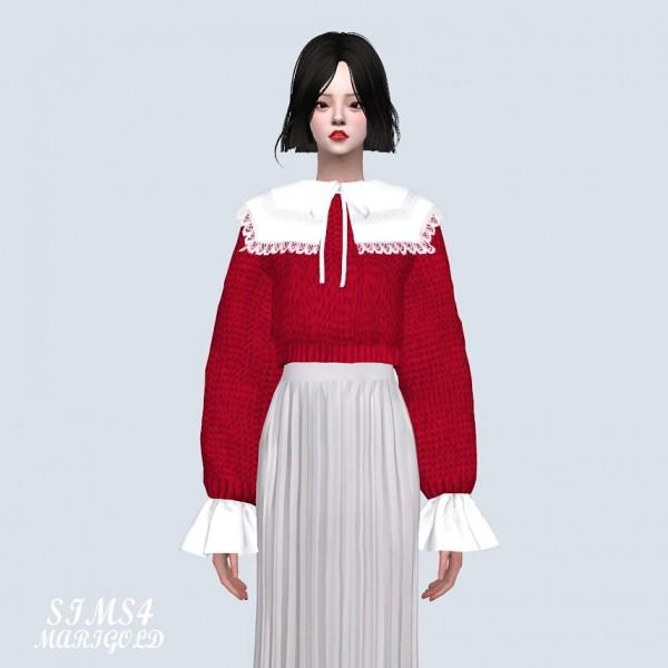 SIMS4 Marigold: Big Square Collar Crop Sweater