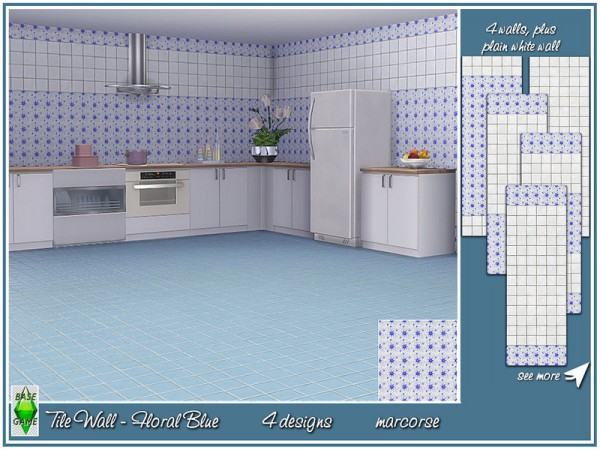 The Sims Resource: Tile Wall Floral Set by marcorse