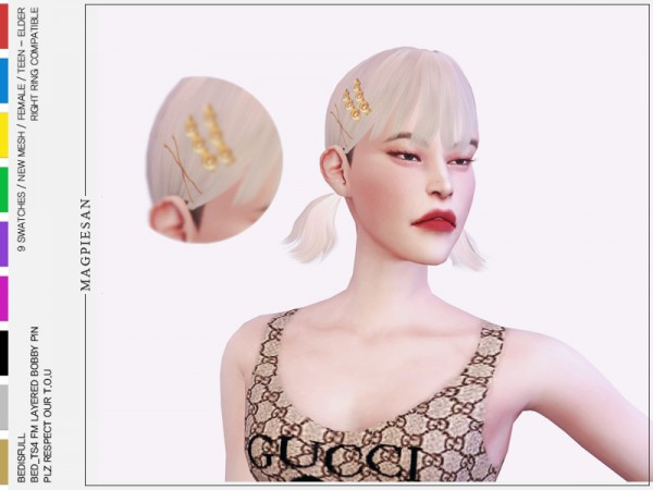The Sims Resource: Hairpin set by magpiesan