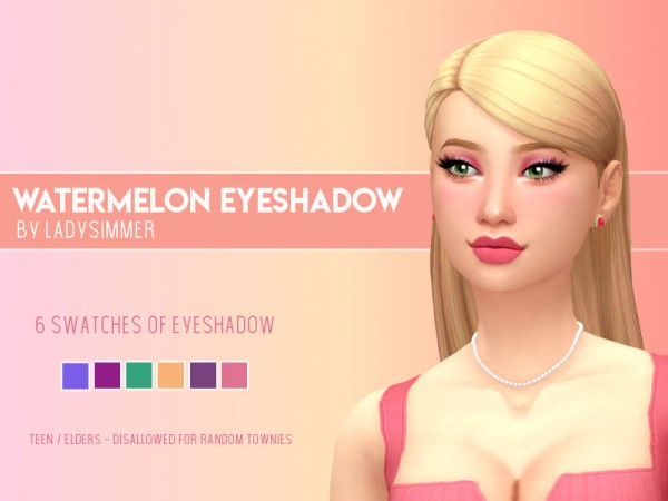 The Sims Resource: Watermelon Eyeshadow by LadySimmer94