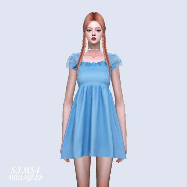SIMS4 Marigold: Shoulder Mesh Mini Dress