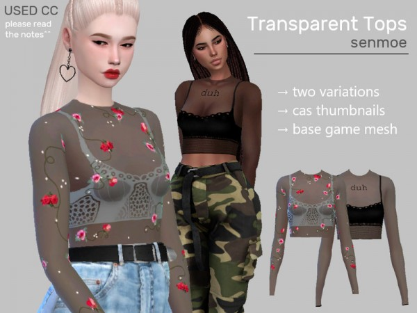 The Sims Resource: Transparent Tops by Senmoe
