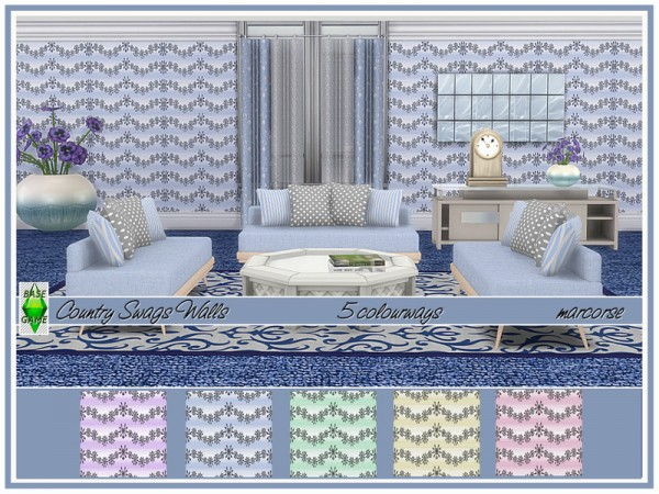 The Sims Resource: Country Swags Walls by marcorse