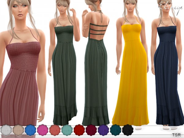 The Sims Resource: Crinkle Silky Maxi Dress by ekinege