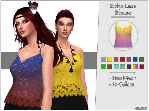 The Sims Resource: Boho Lace Blouse by OranosTR