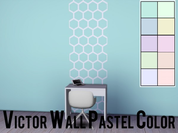 Models Sims 4: Victor Wall Pastel and Victor Wall Pastel Color
