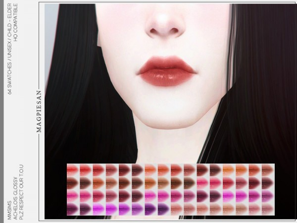 The Sims Resource: Achelois Glossy Lipstick by magpiesan