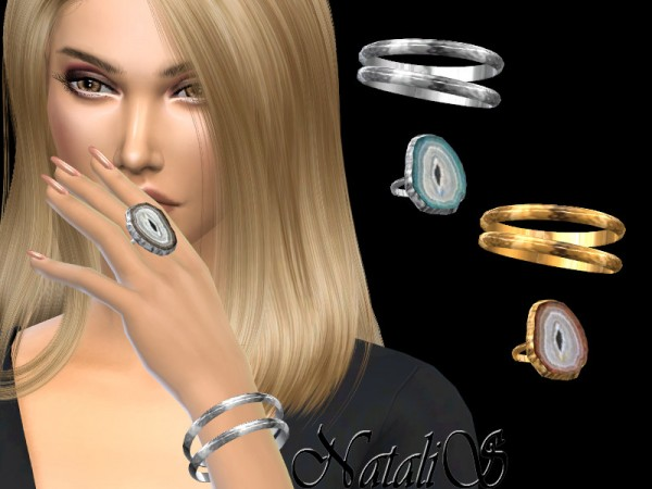 The Sims Resource: Metal bangles with agate slice ring by NataliS