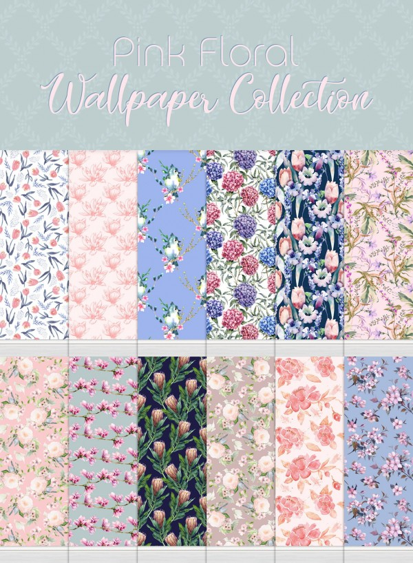Simplistic: Pink Floral Wallpaper Collection