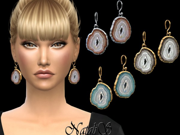 The Sims Resource: Agate slices earrings by NataliS
