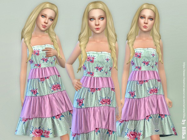 The Sims Resource: Mint Floral Block Dress by lillka