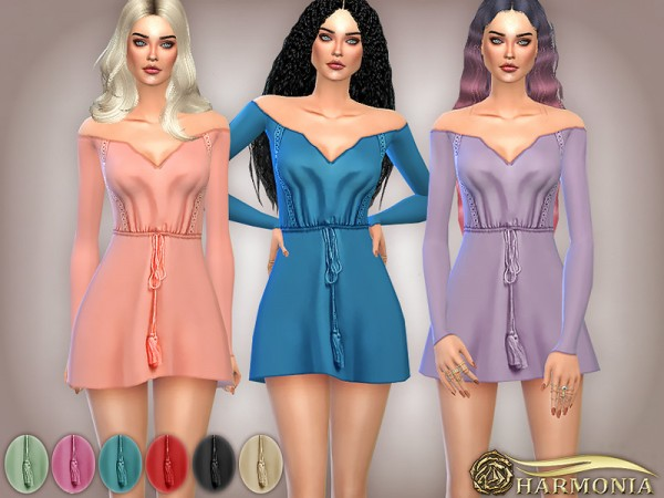 The Sims Resource: Off the Shoulder Lace trim Boho Dress by Harmonia