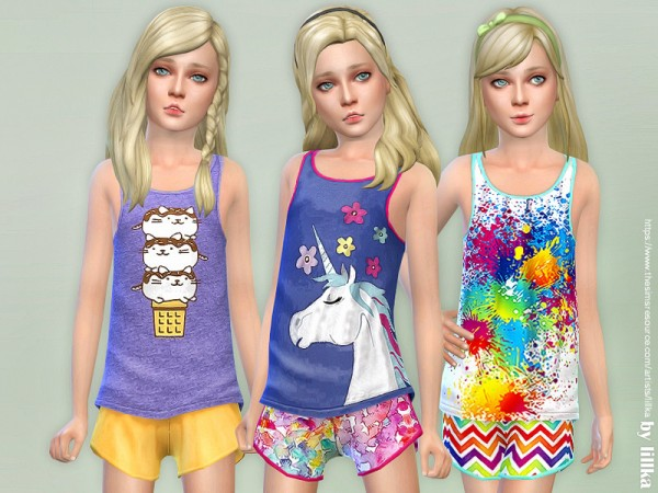 The Sims Resource: Summer Print Top and Shorts 03 by lillka