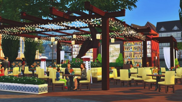 Sims 3 by Mulena: Restaurant Green Yard no CC