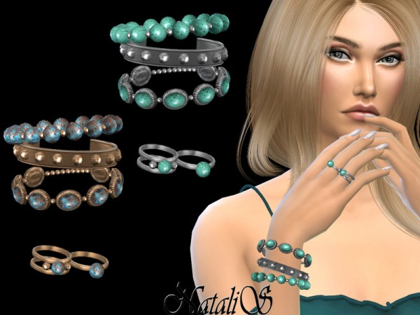 The Sims Resource: Boho bracelet set with rings   Right by NataliS