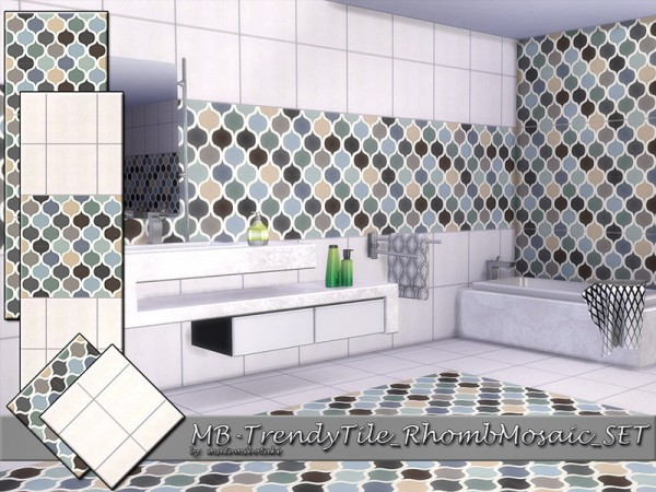 The Sims Resource: Trendy Tile Rhomb Mosaic set by matomibotaki