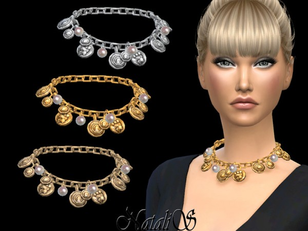 The Sims Resource: Coin and pearl chain necklace by NataliS