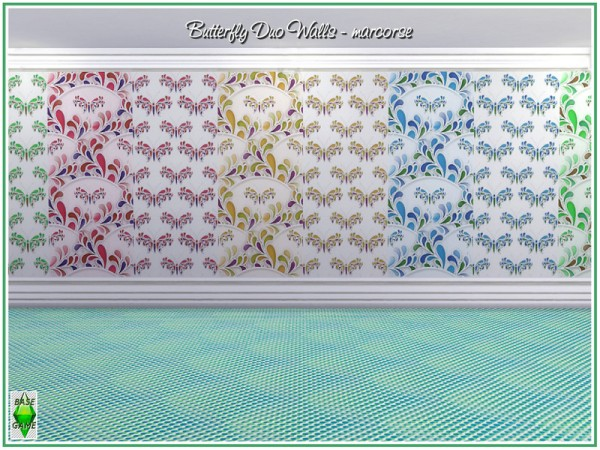 The Sims Resource: Buttefly Duo Walls by marcorse