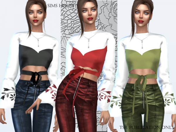 The Sims Resource: Silk blouse with embroidery on the sleeves by Sims House